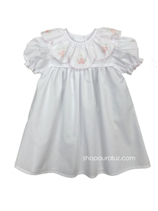 Auraluz Day Gown...White with ruffle collar,pink scallop trim and embroidered flowers