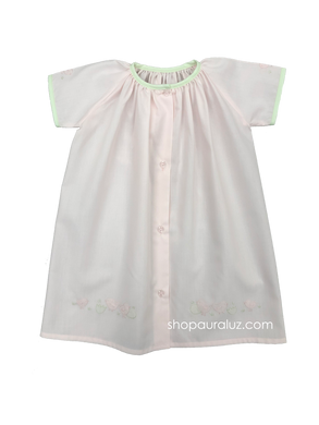 Auraluz Day Gown. Pink with green binding trim and embroidered chicks