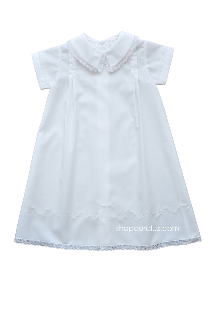 Auraluz Boy Day Gown..White with white lace and embroidered cross
