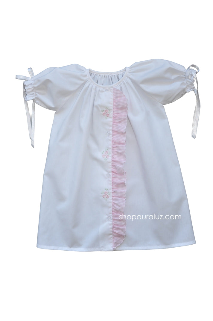 Auraluz Day Gown..White with pink check ruffle,ribbons and embroidered flowers