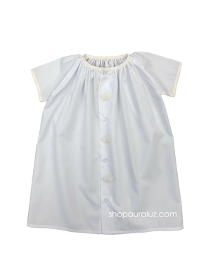 Auraluz Day Gown. White with ecru binding trim and embroidered lambs