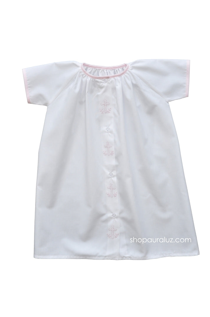 Auraluz Day Gown...White with pink binding trim and embroidered crosses