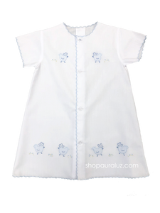 Auraluz Day Gown..White with blue scallops and embroidered chickens