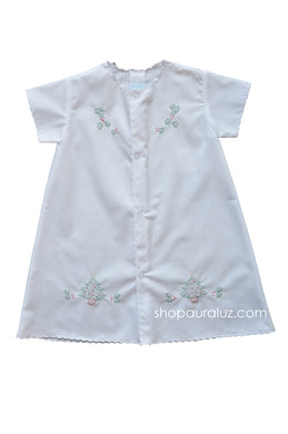 Auraluz Christmas Day Gown..White with white scallops and embroidered trees