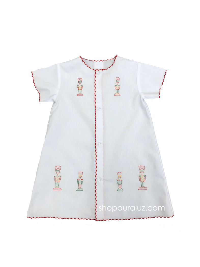 Auraluz Christmas Day Gown..White with red scallops and embroidered toy soldiers