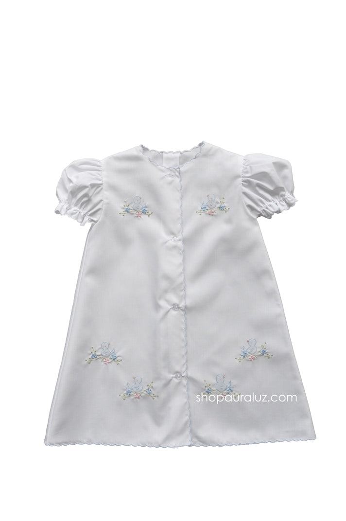 Auraluz Day Gown..White with blue scallops and embroidered blue birds