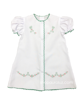 Auraluz Christmas Day Gown..White with green scallops and embroidered holly