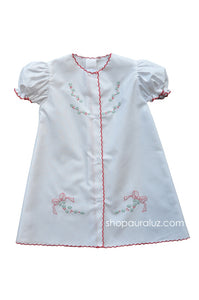 Auraluz Christmas Day Gown..White with red scallops and embroidered bows