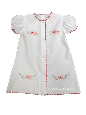 Auraluz Christmas Day Gown..White with red scallops and embroidered tiny bows