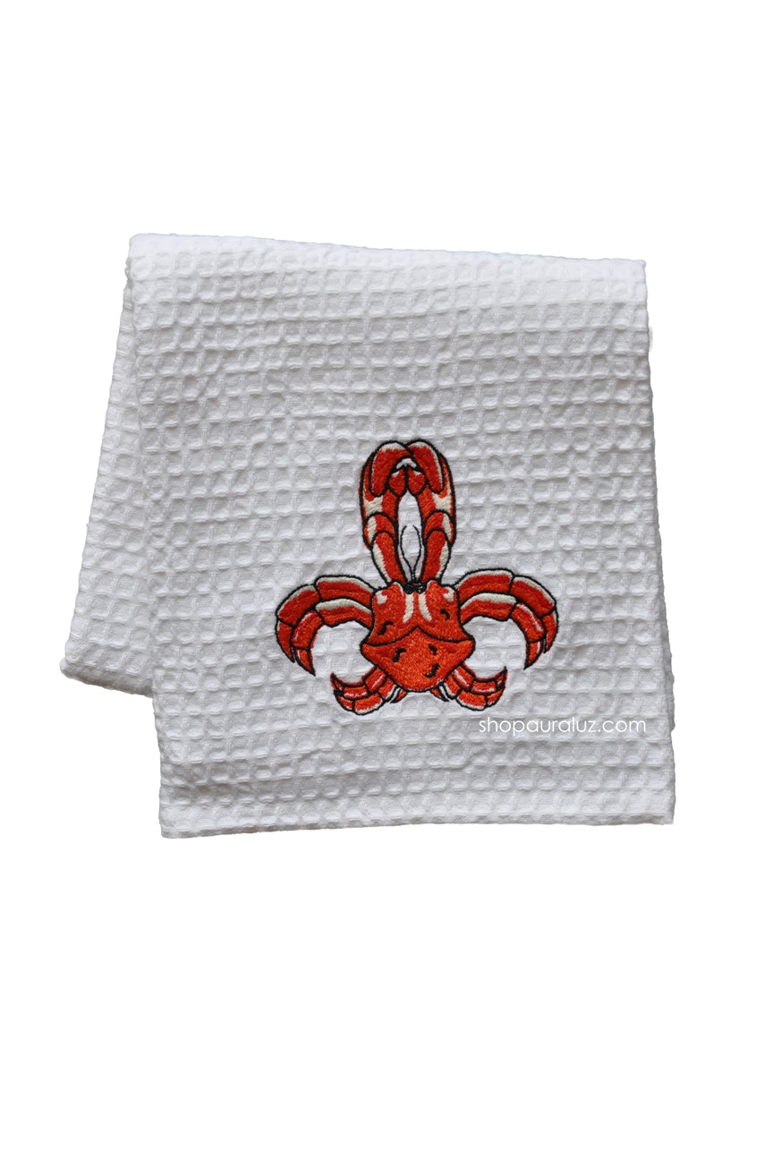 Waffle Weave Towel - RED CRAB de Lis