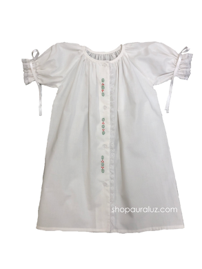 Auraluz Christmas Day Gown l/s..White with lace/ribbons and embroidered holly