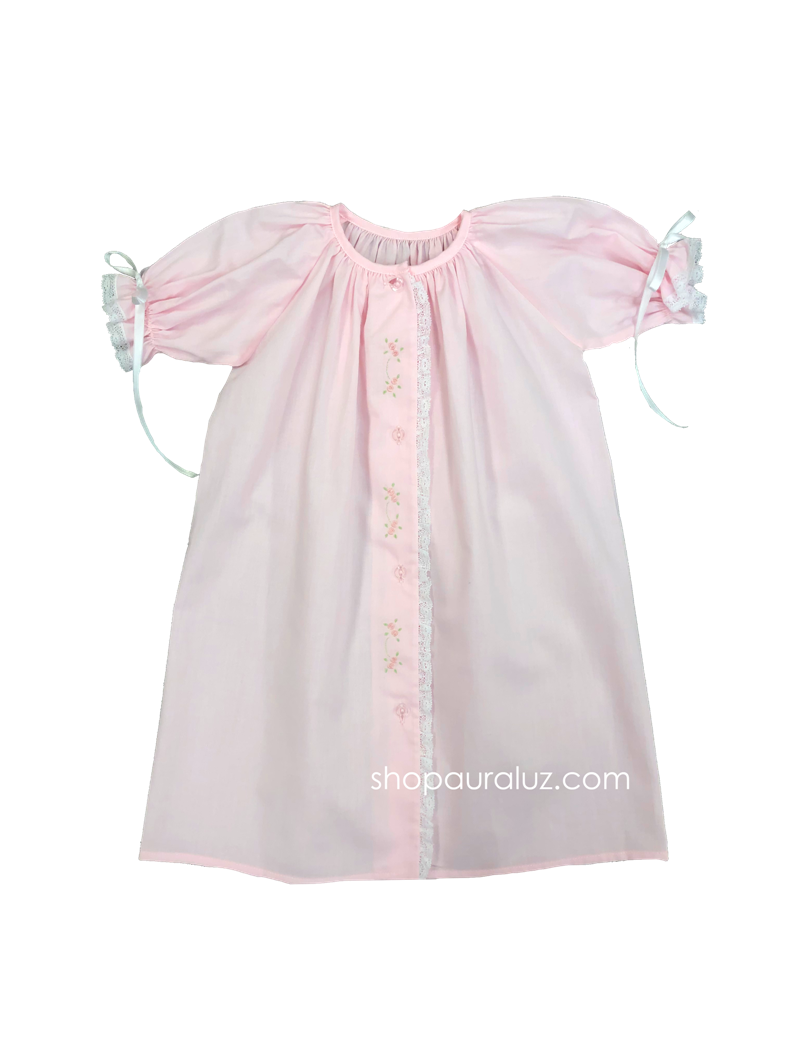 Auraluz Day Gown l/s..Pink with lace and embroidered flowers