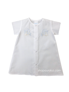 Auraluz Boy Day Gown...White with embroidered blue trains