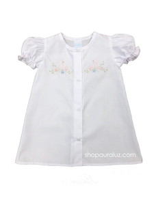 Auraluz Girl Day Gown...White with embroidered pink birds