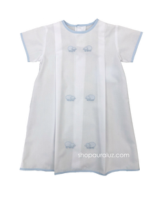 Auraluz Boy Day Gown...White with blue binding trim and embroidered lambs