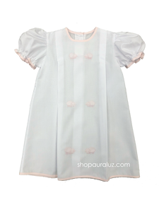 Auraluz Girl Day Gown...White with pink binding trim and embroidered lambs