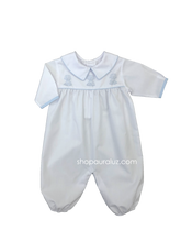 Load image into Gallery viewer, Auraluz Boy l/s Convertibag...White with blue binding trim and embroidered puppies
