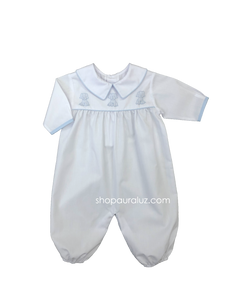 Auraluz Boy l/s Convertibag...White with blue binding trim and embroidered puppies