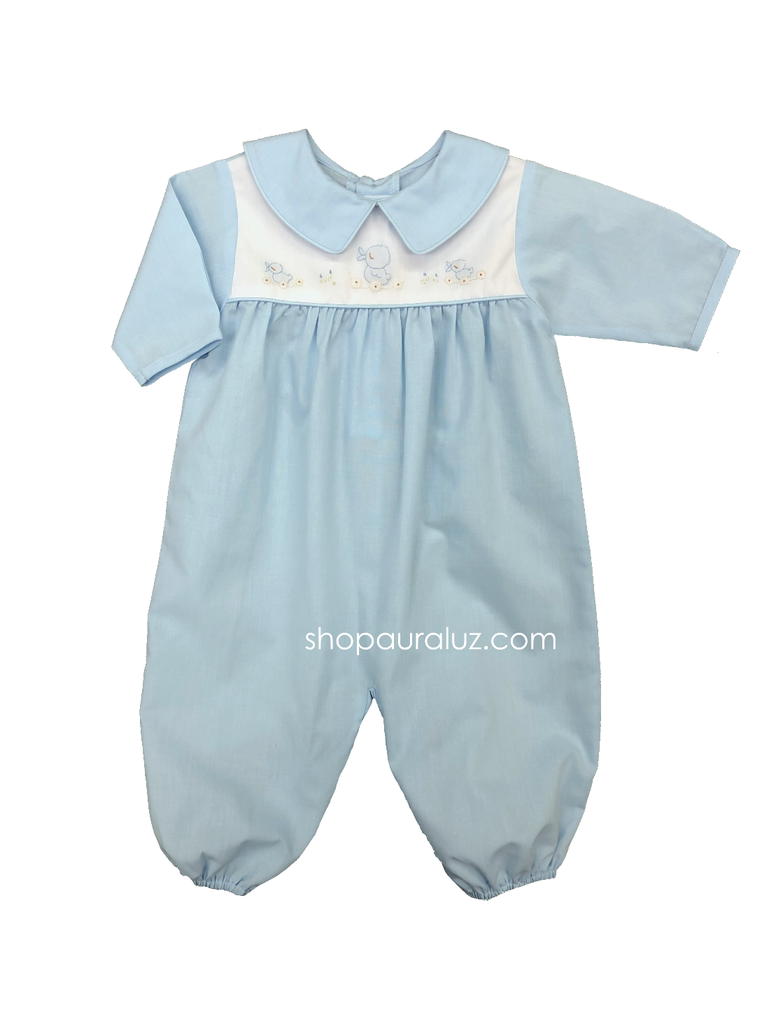 Auraluz Boy l/s Convertibag...Blue with binding trim and embroidered ducks