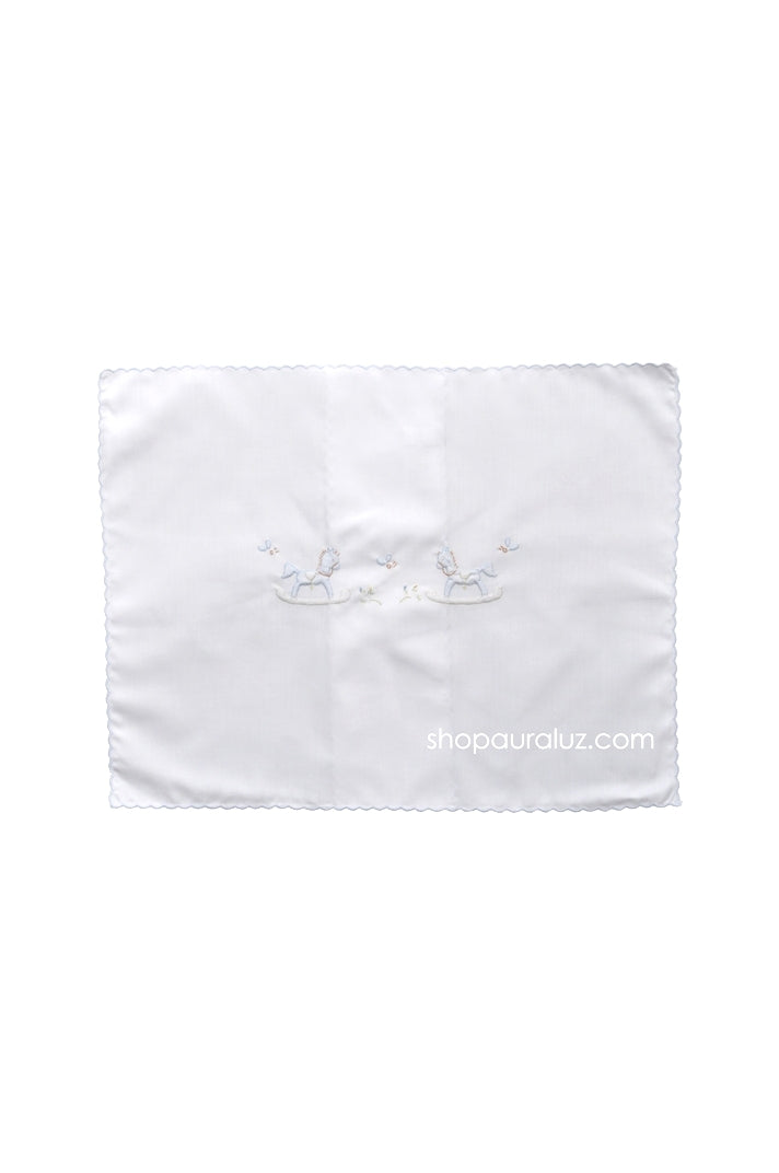 Auraluz Pillow Sham..White with blue scallop trim and embroidered horses