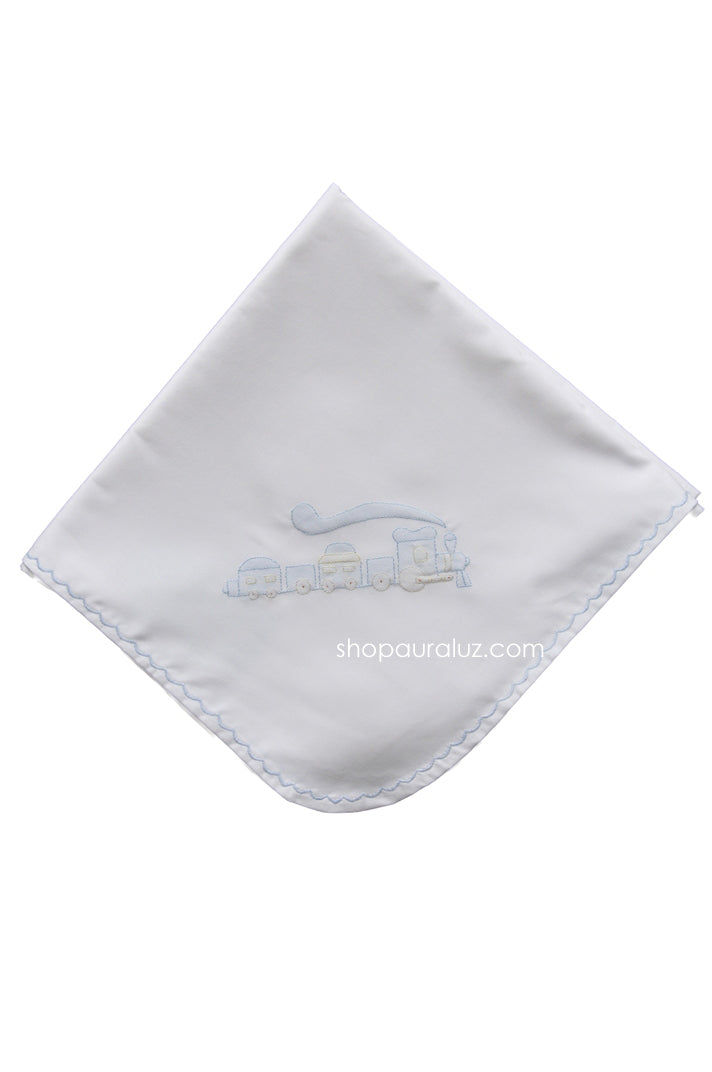 Auraluz Blanket..White w/blue scallops and embroidered train