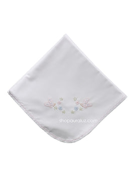 Auraluz Blanket..White w/pink scallops and embroidered butterflies