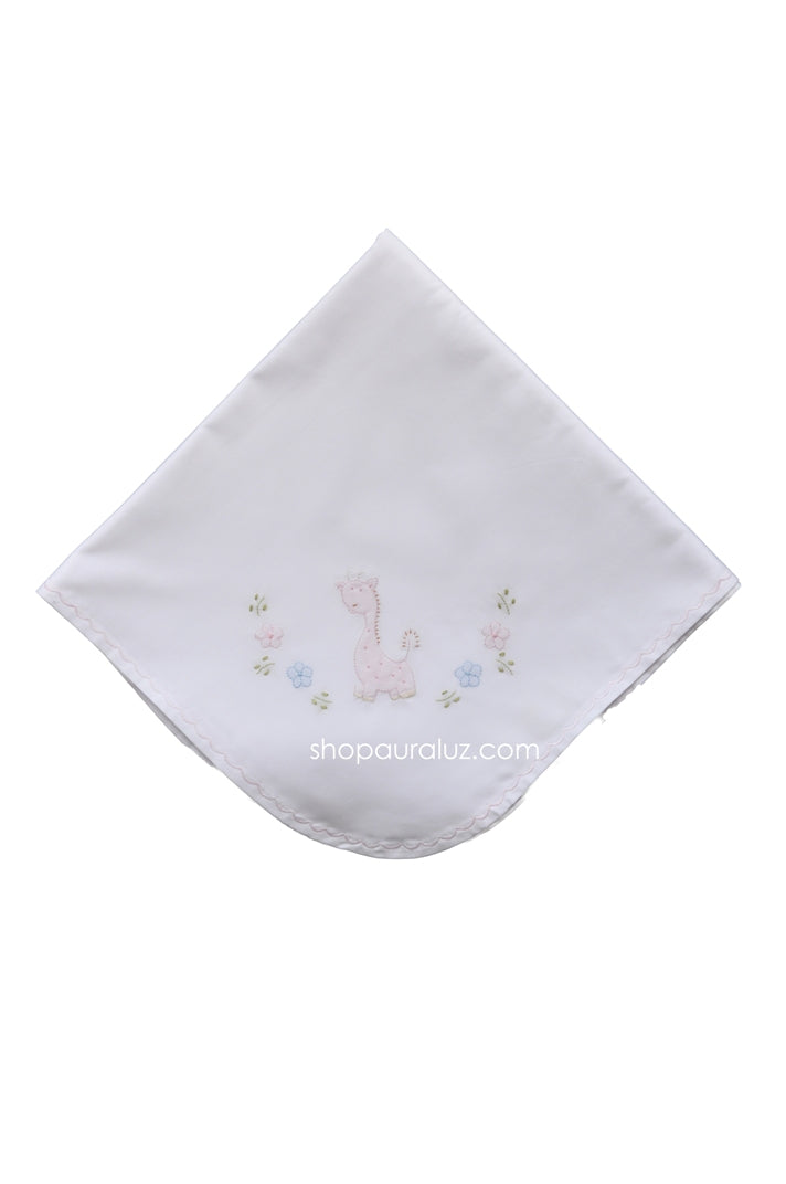 Auraluz Blanket..White w/pink scallops and embroidered giraffe