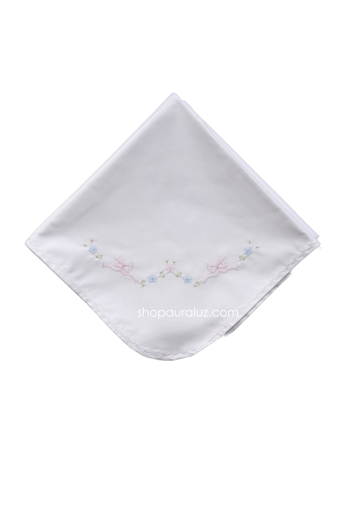 Auraluz Blanket..White w/pink scallops and embroidered bows