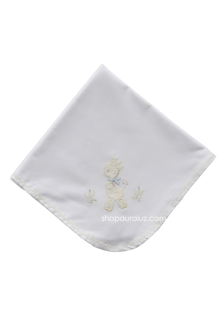 Auraluz Blanket..White w/yellow scallops and embroidered giraffe