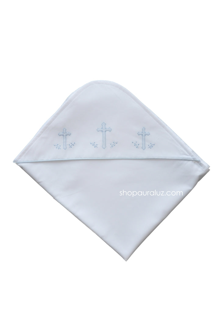 Auraluz Blanket...White with blue binding trim and embroidered crosses