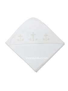 Auraluz Blanket...White with ecru binding trim and embroidered crosses