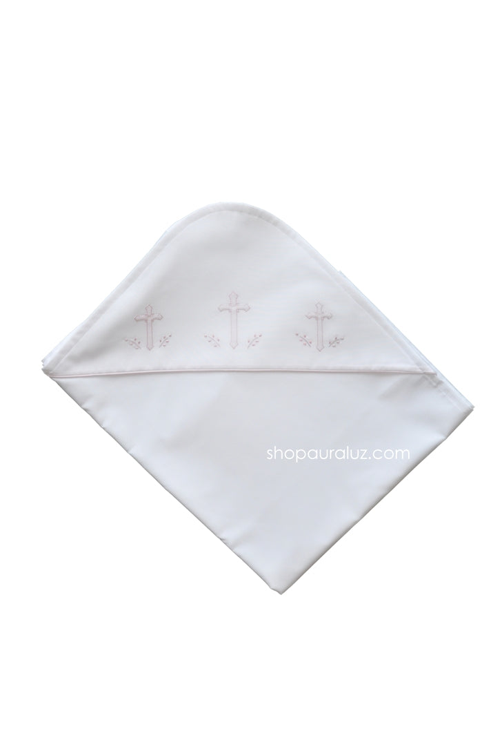 Auraluz Blanket...White with pink binding trim and embroidered crosses