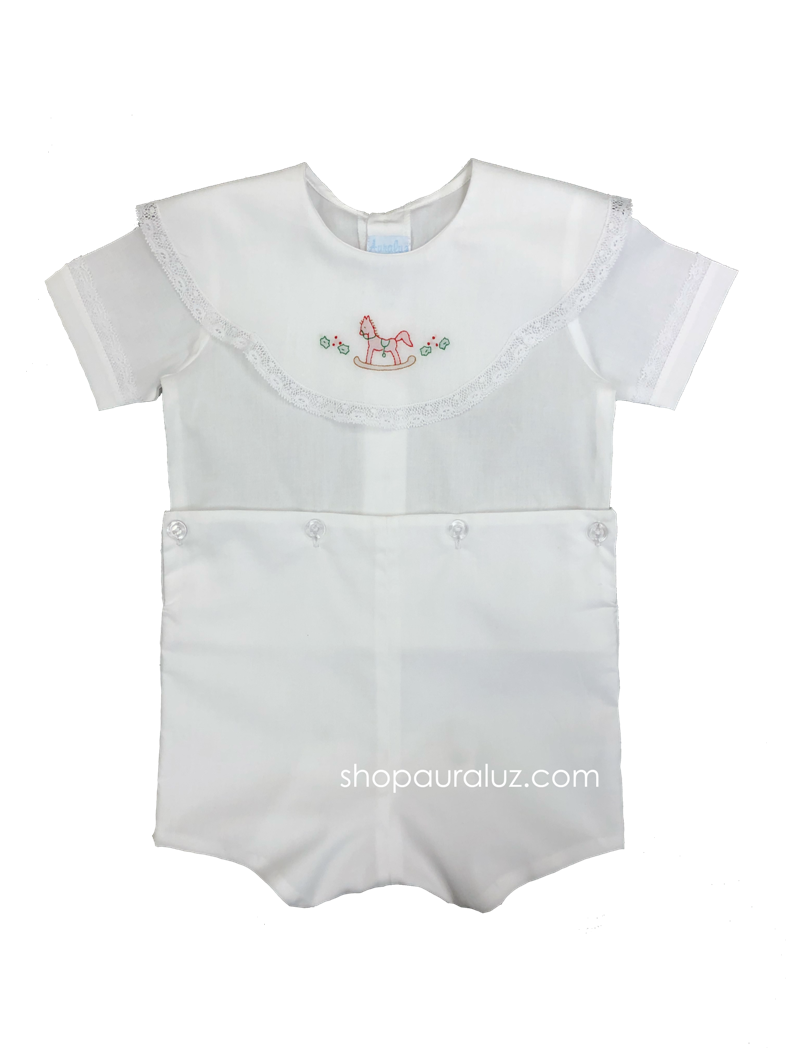 Auraluz Button-on...White with white lace,scalloped round collar and embroidered rocking horse