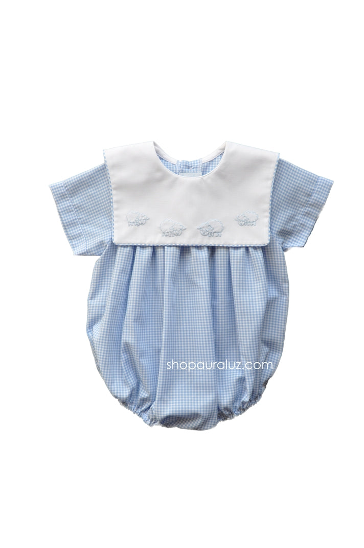 Auraluz Bubble..Blue check with sq.collar and embroidered lambs