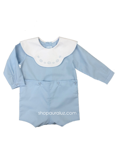 Auraluz Button-On, l/s...Blue w/binding, white scalloped collar and embroidered ovals