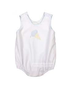 Auraluz Sleeveless Bubble..White with blue binding and embroidered ice cream cone. STORE EXCLUSIVE!