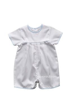 Auraluz Pique Shortall..White with blue trim