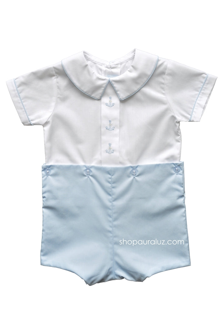 Auraluz Boy Button-On. Blue with boy collar and embroidered anchors