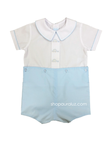 Auraluz Boy Button-On. Blue with boy collar and embroidered cars