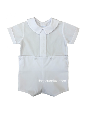 Auraluz Boy Button-On..White with boy collar and embroidered white crosses