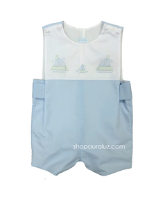 Auraluz Sleeveless Shortall...Blue with embroidered boats