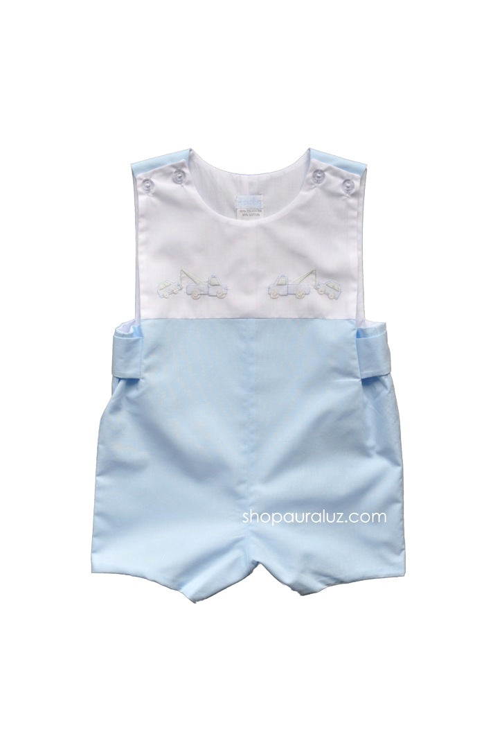 Auraluz Sleeveless Shortall...Blue with embroidered tow trucks
