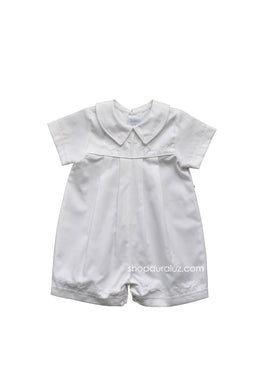 Auraluz Twill Boy Shortall..White with ribbon trim and embroidered crosses