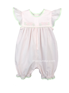 Auraluz French Bubble/Angel Sleeve...Pink with green trim and embroidered chicks