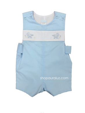 Auraluz Sleeveless Shortall..Blue with embroidered alligators