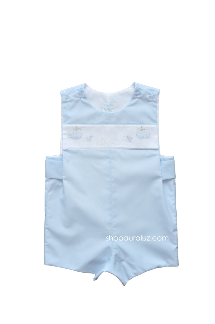 Auraluz Sleeveless Shortall..Blue with embroidered whales