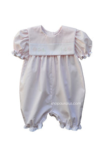 Auraluz Girl Shortall..Pink stripe with square collar and embroidered flowers