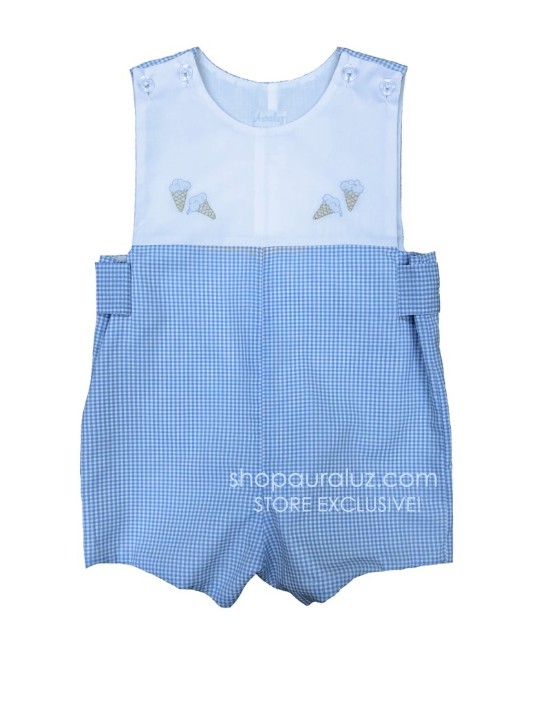 Auraluz Sleeveless Shortall...Blue check with embroidered ice cream cones. STORE EXCLUSIVE!