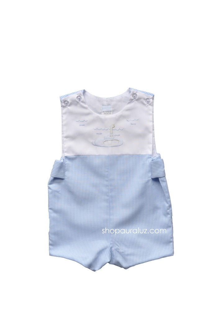 Auraluz Sleeveless Shortall...Blue check with embroidered submarine