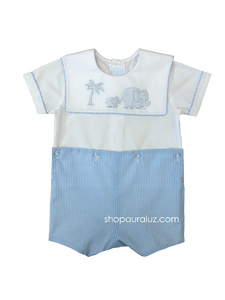 Auraluz Boy Button-On..Blue check with sq.collar and embroidered elephants